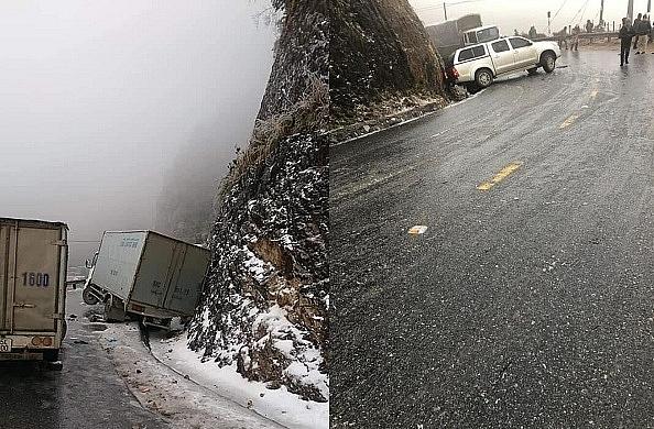 Sa Pa: Tuyết phủ trắng xóa trời, nhiều ô tô gặp nạn