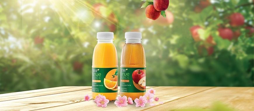 Sản phẩm Nước trái cây TH true JUICE của Tập đoàn TH sản xuất từ trái cây thật, các nguyên liệu hoàn toàn tự nhiên.