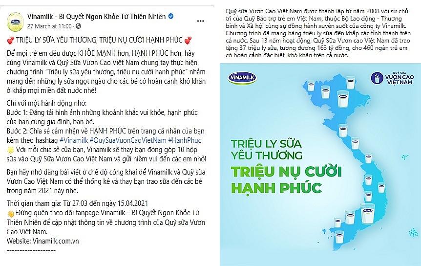 Trong chiến dịch diễn ra từ 27.03 đến 15.04.2021, với mỗi chia sẻ được đăng tải, bạn sẽ cùng Vinamilk gửi 10 hộp sữa đến các em nhỏ có hoàn cảnh khó khăn trên cả nước