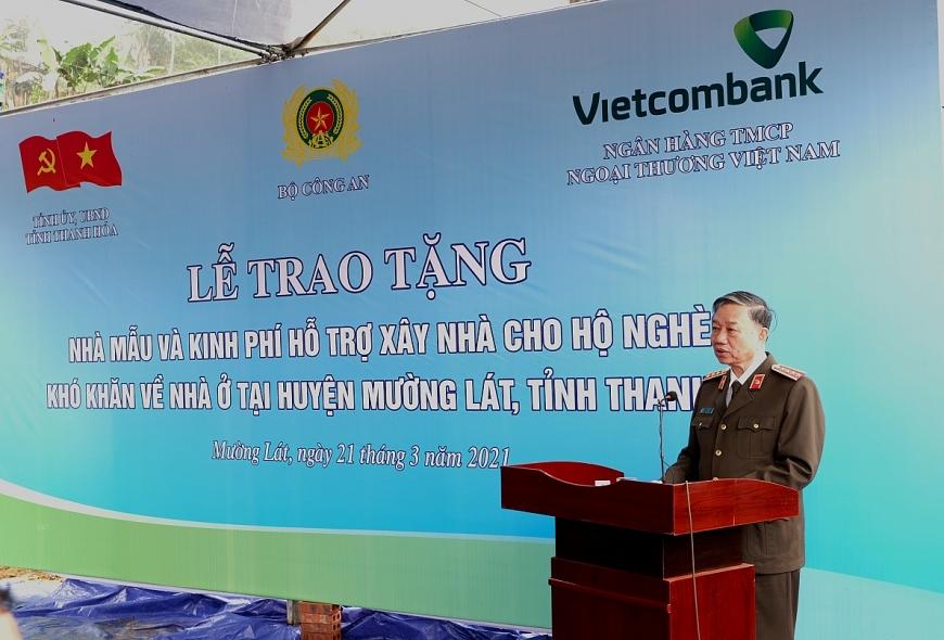 Đại tướng Tô Lâm  Ủy viên Bộ Chính trị, Bộ trưởng Bộ Công an phát biểu tại buổi lễ