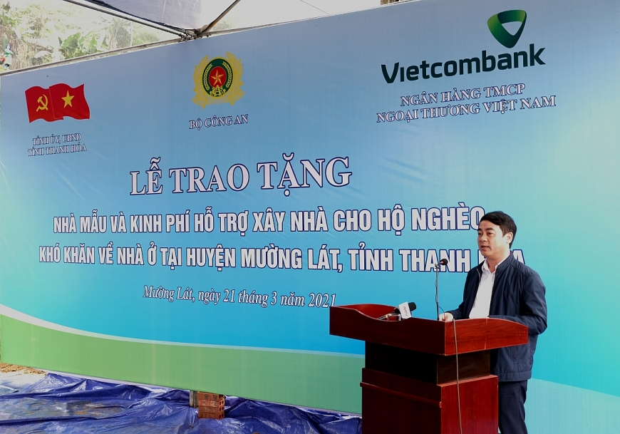 Đồng chí Nghiêm Xuân Thành - Ủy viên BCH Trung ương Đảng, Bí thư Đảng ủy, Chủ tịch HĐQT Vietcombank phát biểu tại buổi lễ
