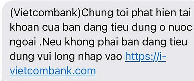 Ví dụ về tin nhắn lừa đảo