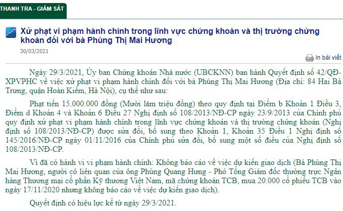 Thông tin về xử phạt bà Hương