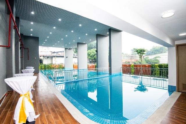 Tiện ích hồ bơi đã hoàn thiện tại Khu căn hộ Happy One – Phú Hòa