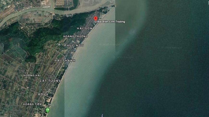 Vị trí đặc biệt của bãi biển Linh Trường trên dải bờ biển Hải Tiến (Ảnh: GG)
