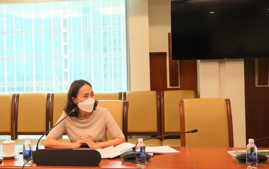 Bà Nguyễn Thị Kim Oanh - PTGĐ Vietcombank – Trưởng BTK dự án phát biểu tại lễ khởi động
