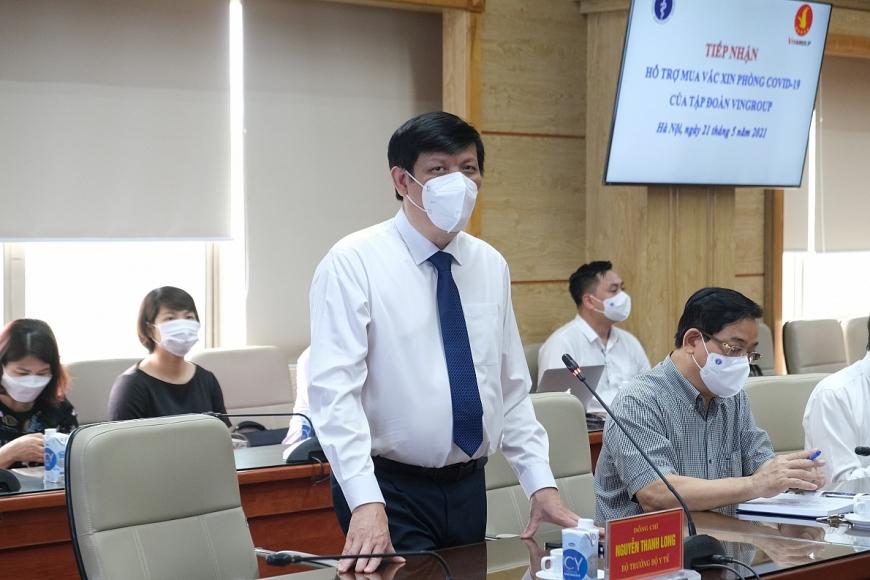 GS.TS. Nguyễn Thanh Long - UV BCH TW Đảng, Bộ trưởng Bộ Y tế phát biểu tại Lễ tiếp nhận
