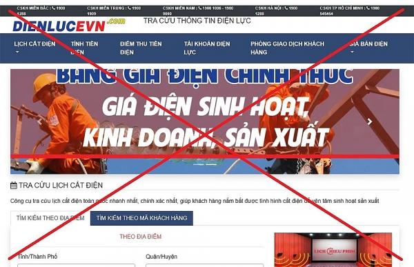 Cảnh báo trang web giả mạo Tập đoàn Điện lực Việt Nam