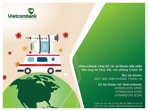 Công bố số tài khoản tiếp nhận tiền ủng hộ Qũy vắc-xin phòng Covid-19 tại Vietcombank