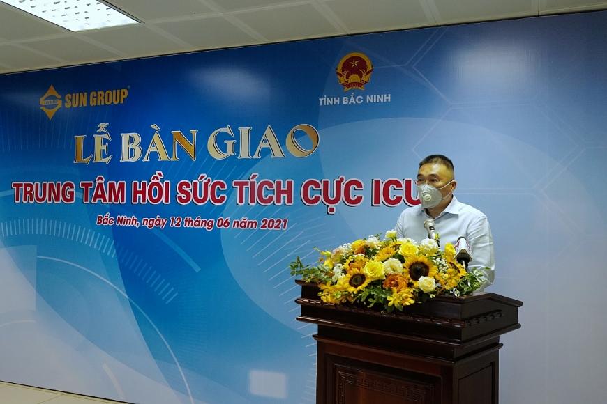 Ông Trần Minh Sơn – Thành viên Hội đồng sáng lập Tập đoàn Sun  Group phát biểu tại sự kiện bàn giao ICU cho Bắc Ninh