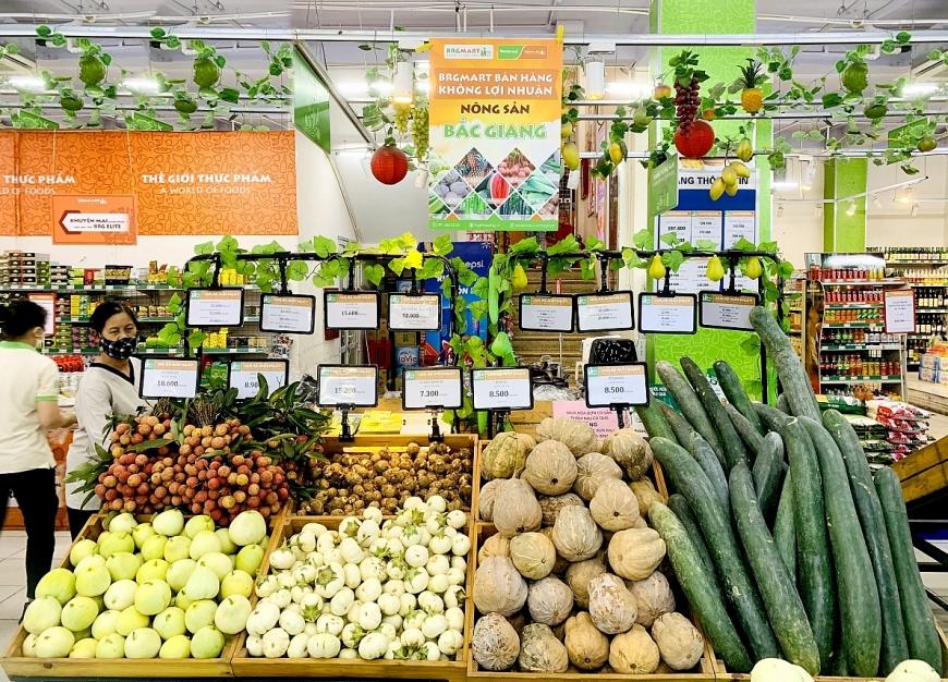 Các mặt hàng nông sản đã được tập trung bày bán tại BRGMart