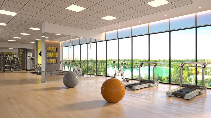 Phòng tập gym hiện đại ở tầng 23 dự án