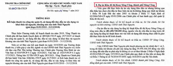 Kết luận của Thanh tra Chính phủ về những sai phạm tại Dự án Kosy Sông Công của Tập đoàn Kosy