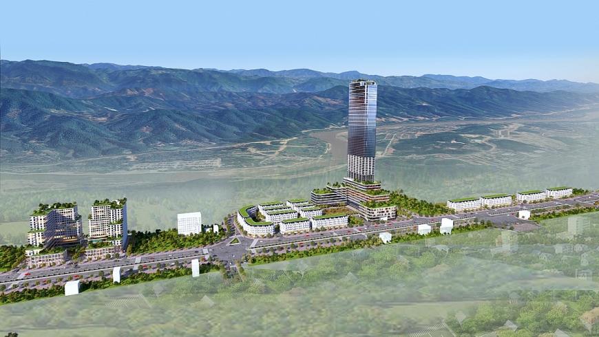 Phối cảnh tổng thể dự án xây dựng Khu nhà ở thương mại và các công trình hỗn hợp – dịch vụ, Khu đô thị mới Lào Cai - Cam Đường, thành phố Lào Cai