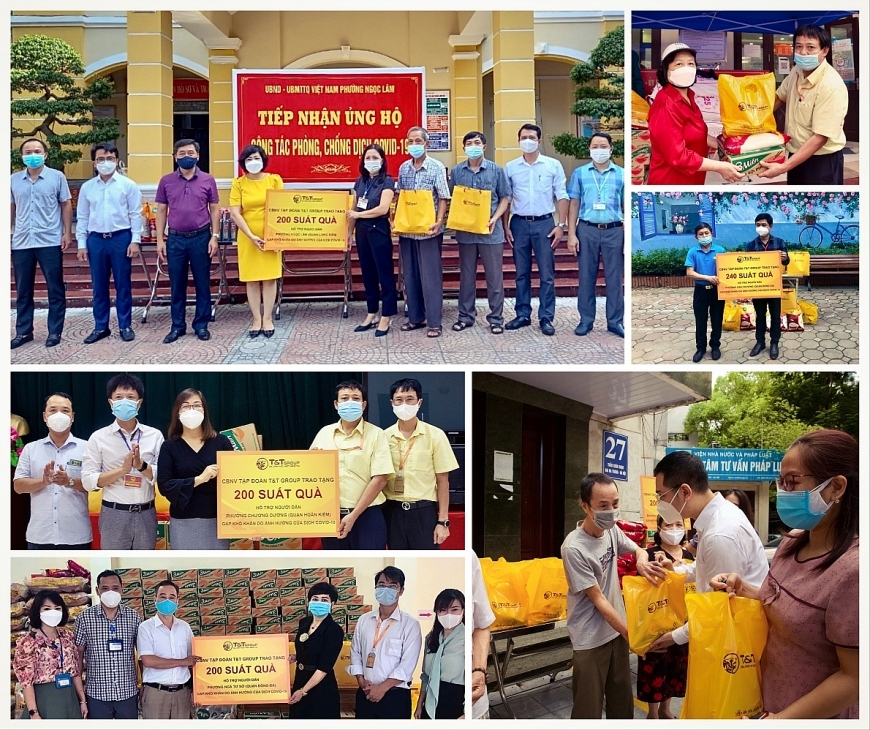 Cán bộ nhân viên T&T Group trao tặng 3000 suất quà cho người dân Hà Nội gặp khó khăn do Covid-19